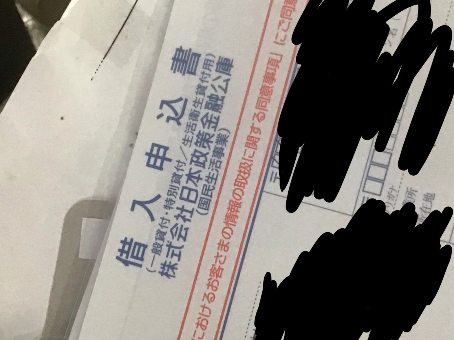日本政策金融公庫の借り入れ申込書